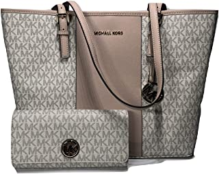4812e0185ac5 MICHAEL Michael Kors Jet Set Travel MD Center Stripe Carryall Tote bundled  with Michael Kors Fulton