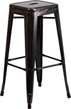 Flash Furniture 30'' High Backless Black-Antique Gold Metal Indoor-Outdoor Barstool with Square Seat