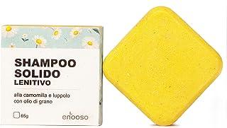 Shampoo Solido Bio Lenitivo e Illuminante alla Camomilla, Calendula e Luppolo 65 g per cute sensibile - Enooso - 100% Arti...