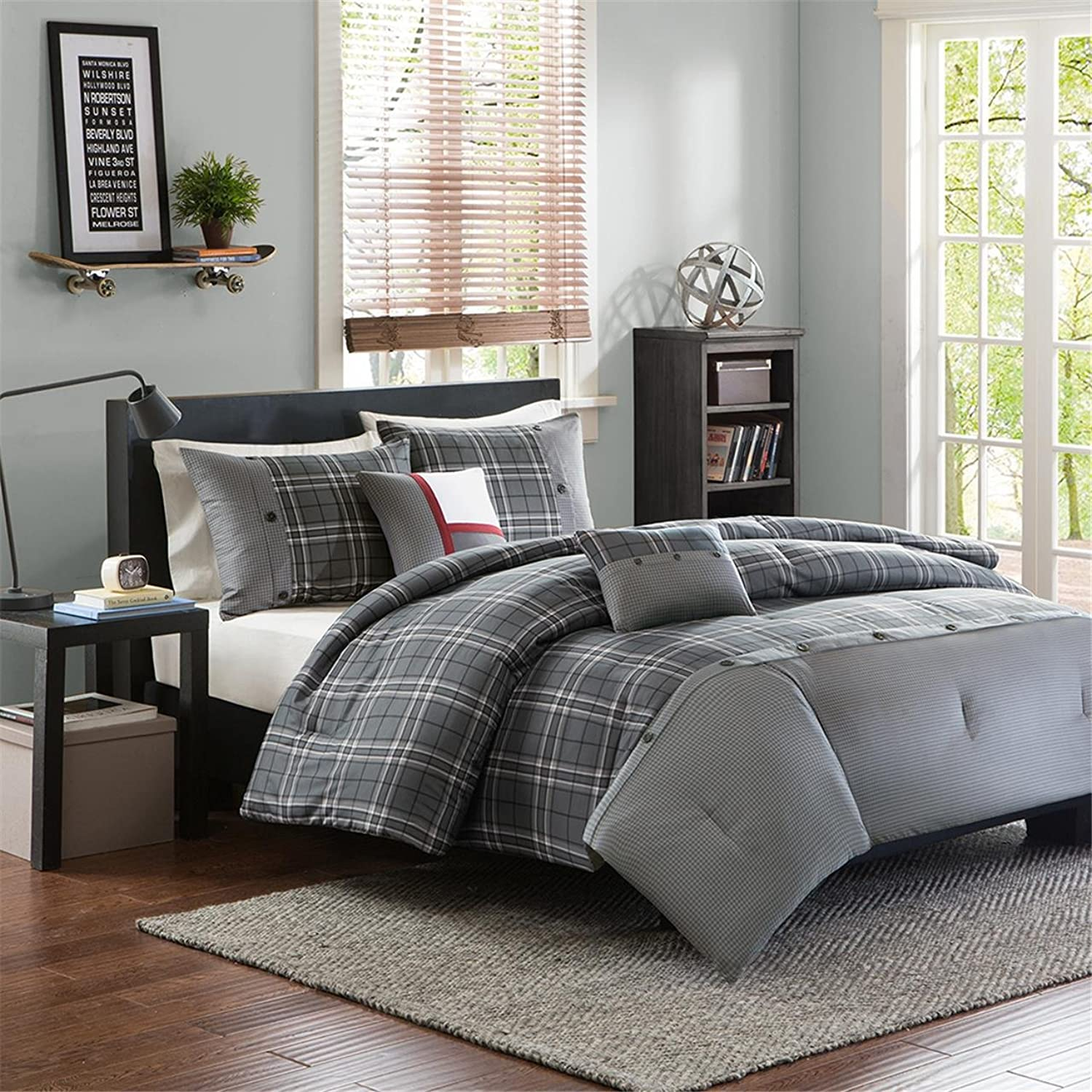 Intelligent Design Daryl 5 Piece Comforter Set, Grey, King California King