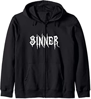 Sinner Evil Black Metal, Goth, Wicked Cool Halloween Gift Zip Hoodie