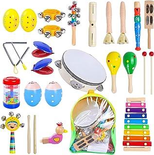 Rabing ensemble d'instruments de musique pour enfants, ensemble de musique, 27 types d'instruments de musique en bois pour...