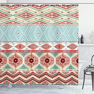 Lunarable Aztec Shower Curtain, Culture Inspirations Ornamental Indigenous Chevron, Cloth Fabric Bathroom Decor Set with Hooks, 70