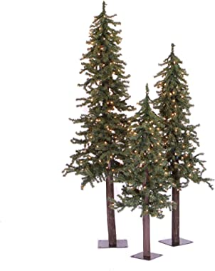 Vickerman 4' 5' 6' Natural Alpine Artificial Christmas Tree Set, Clear Incandescent Lights - Faux Christmas Tree