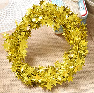 Yesier 25 FT Star Tinsel Garlands with Wire Christmas Tree Party Decoration Festive Ornament, Gold, 2 Pack