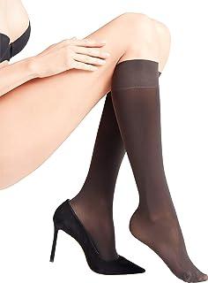 FALKE Kniestrümpfe Seidenglatt 40 Denier weiches Material Damen schwarz hautfarben viele weitere Farben Feinkniestrümpfe elastisch ohne Muster hochwertig glänzend 1 Paar