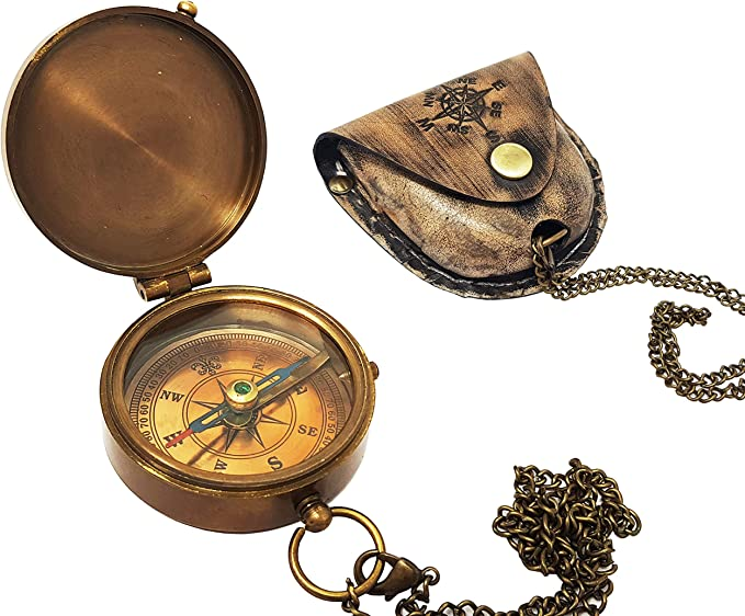 Steampunk Accessories | Goggles, Gears, Glasses, Guns, Mask Brass Nautical Compass with Stamped Leather Case Boating Compass Graduation Day Gifts Camping Compass Gift Compass  AT vintagedancer.com