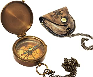 Brass Nautical - Antique Brass Compass Nautical Pocket Backpacking Compass Leather Case Vintage Camping Hiking Direction Marine Graduation Confirmation Day Engravable for Men Quality Travel