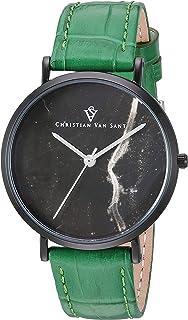 Christian Van Sant Women's Lotus Stainless Steel Quartz Leather Strap, Green, 15 Casual Watch (Model: CV0424GR)