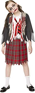 Girl's Zombie School Girl Costume, for Halloween Party Accessory, Small Red and White