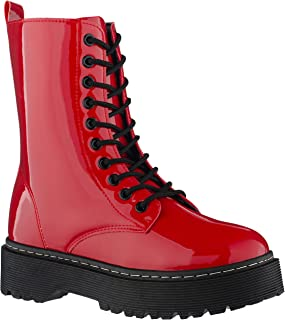 ILLUDE Women's Lace-Up Combat Boots Round Toe Ankle Bootie Chunky Platform Combat Boot