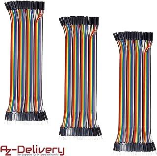 AZDelivery 3 x Jumper Wire cables de Puente 40 piezas F2M pines macho hembra para Arduino y Raspberry Pi Breadboard