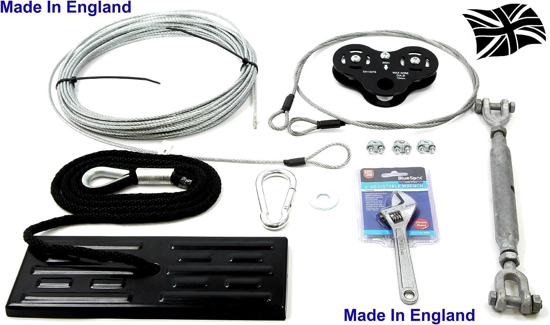 schwarz Hawk 18MTR Zip Line Draht Komplett Kit Armatur Tools Lieferung Sitz