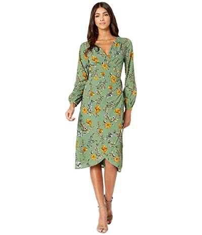 Cupcakes and Cashmere Alaura Autumn Wildflowers Soft Satin Wrap Midi Dress (Thyme Green) Women