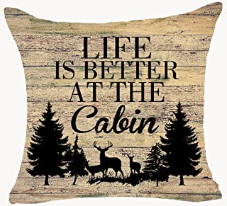 Retro Vintage Wood Grain Background Wildlife Deer Pine Forest Life is Better at The Cabin Cotton Linen Throw Pillowcase Personalized Cushion Cover New Home Office Decorative Square 18 X 18 Inches