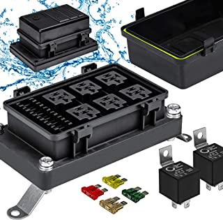 12V Auto Waterproof Fuse Relay Box Block Kit [6 Bosch Style Relay Holder] [6 ATC/ATO Fuse Holder] [Relays & Fuses Include...