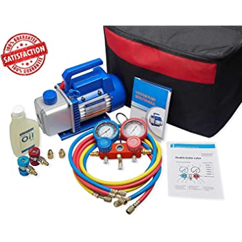 NewPosition 4CFM 1/3HP Air Vacuum Pump HVAC A/C Refrigeration Tool Kit AC,Auto Repair Equipment,Manifold Gauge Set(R134A R22),3 Hoses