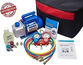 NewPosition 4CFM 1/3HP Air Vacuum Pump HVAC A/C Refrigeration Tool Kit AC,Auto Repair Equipment, Manifold Gauge Set(R134A R22),Coupler Valve, 3 Hoses, Ideal for Food Packaging,Milking,Medical etc