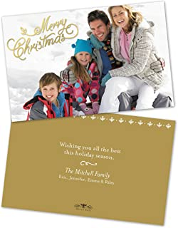 Personalized Holiday Merry Christmas Script Photo Flat Card