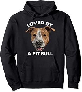 Funny Loved By A Pit Bull Graphic Present Women Pullover Hoodie