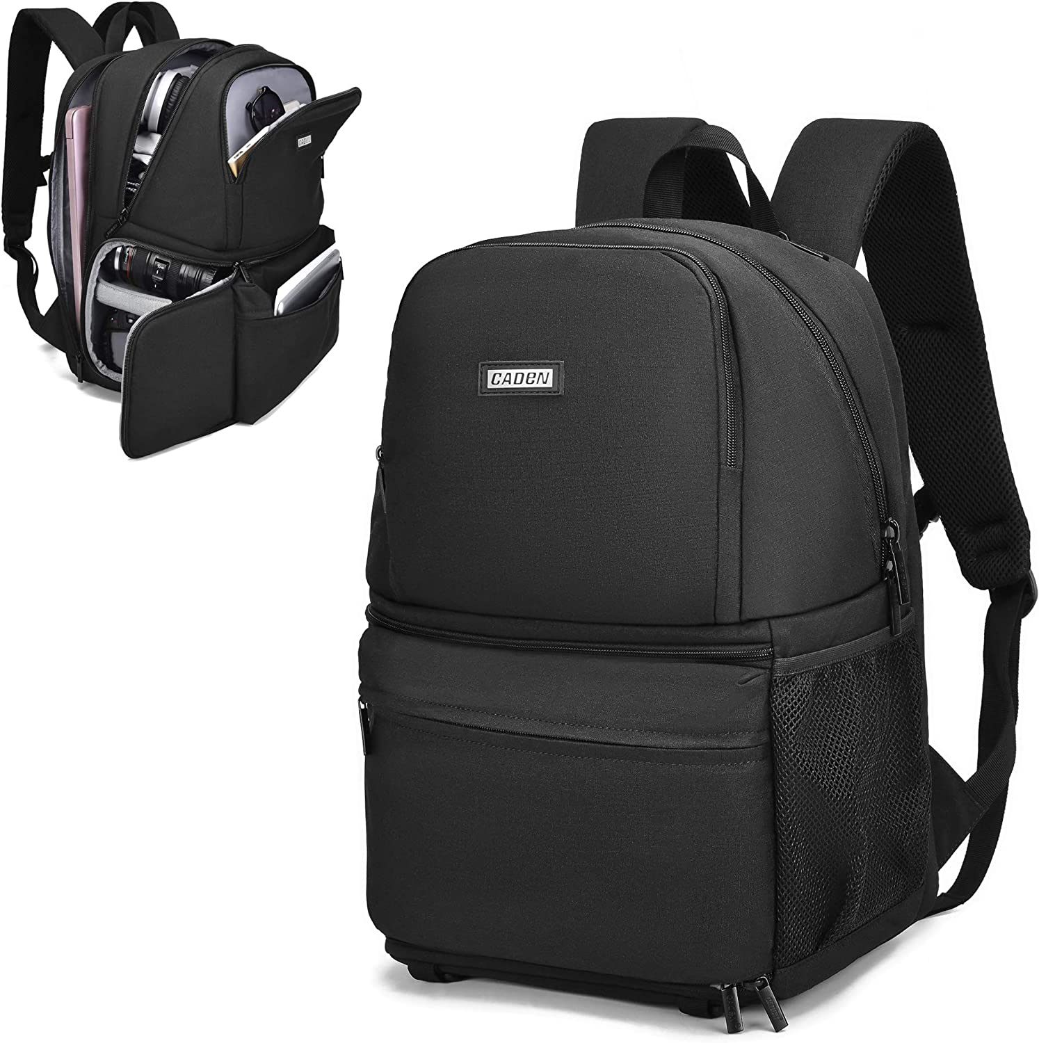 CADeN Camera Backpack Waterproof Camera Bag Large, Camera Case with 13 Inch Laptop Compartment Compatible for Sony Canon Nikon Camera and Lens Tripod Accessories