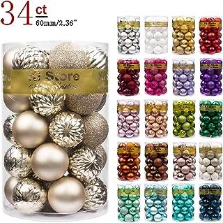 "KI Store 34ct Christmas Ball Ornaments Shatterproof Christmas Decorations Tree Balls for Holiday Wedding Party Decoration, Tree Ornaments Hooks Included 2.36"" (60mm Champagne)"