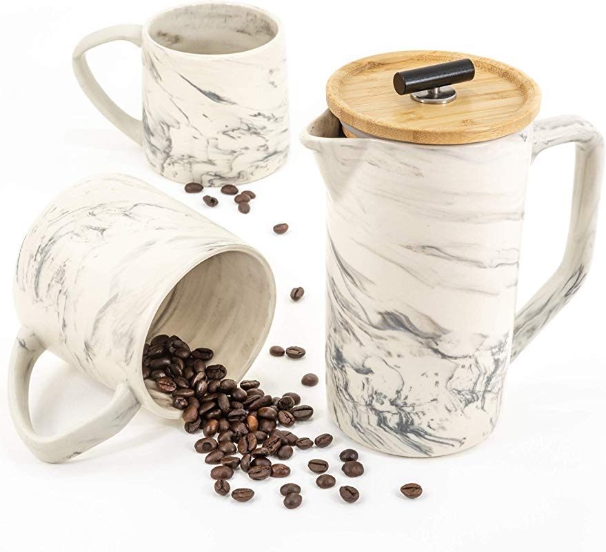 Ar Me De Luxe Marble Ceramic 28oz French Press Coffee Maker Set Two 15oz Mugs Unique Hand Crafted Design Stainless Steel Plunger Filter Bamboo Lid Ideal To Brew Tea Includes Gift Box