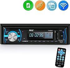 Pyle Marine Bluetooth Stereo Radio - 12v Single DIN Style Boat in Dash Radio Receiver System with Built-in Mic, Digital LCD, RCA, MP3, USB, SD, AM FM Radio - Remote Control - PLMRB29B (Black)