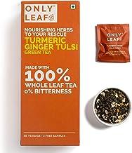 Onlyleaf Immunity Boosting Turmeric Ginger Tulsi Green Tea, 27 Tea Bags (25 Tea Bags + 2 Free Exotic Samples)
