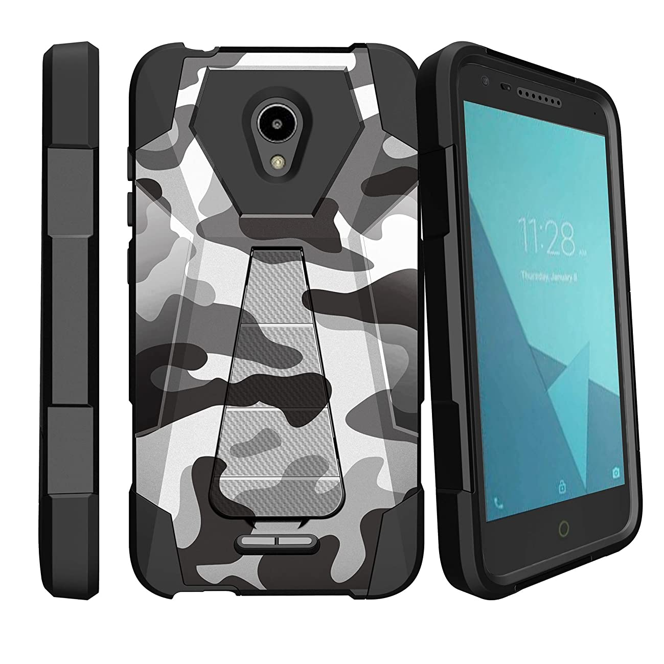 MINITURTLE Case Compatible with Alcatel Raven LTE, Alcatel IdealXcite, Alcatel CameoX Dual Layer Protective Non Slip Shockproof Cover with Push-in Stand by MINITURTLE - Winter Camouflage