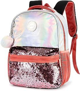 Etrapro Sequin Backpacks for Women and Girls Glitter School Bookbag with Plush Pendant 14 inch