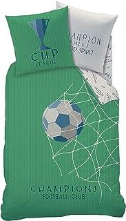 Ropa de cama infantil Football Ball · Juego de cama reversible · Funda de almohada 80 x 80 cm + Funda nórdica 135 x 200 cm – 100% algodón – Ropa de cama juvenil