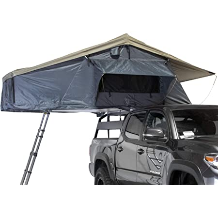 Overland Vehicle Systems Nomadic 3 Extended Rooftop Tent RTT - Dark Gray Base with Green Rain Fly & Black Travel Cover Universal