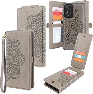 CMIDUS [10 Card Slots] Detachable Magnetic PU Leather Flip Wallet Case with Wrist Strap Kickstand Removable Cover for Sams...