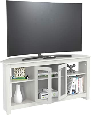 Inval Corner TV Stand with Glass Doors, Washed Oak