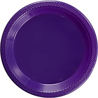 Exquisite 9 Inch. Purple plastic plates - Solid Color Disposable Plates - 100 Count