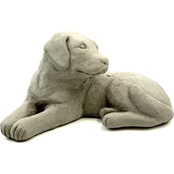 Labrador Retriever Puppy Statue: Solid Cast Stone Dog Figurine, Sealed for Outdoor Use, Handcrafted in The USA (Antique/Gray)