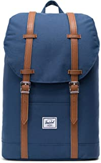 Herschel Retreat Mid-Volume Backpack-Navy/Tan Synthetic Leather