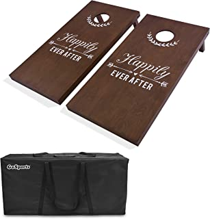 GoSports Wedding Cornhole Boards Game Set | Regulation 4'x2' Size Solid Stained Wood with Carrying Case and Bean Bags (Choose Your Colors) - Match The Wedding Theme!