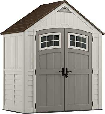 Suncast 6' x 3' Cascade Storage Shed - Natural Wood-like Outdoor Storage for Power Equipment and Yard Tools - All-Weather Resin Material, Transom Windows and Shingle Style Roof, Vanilla with Slate accents, Model:BMS7400D