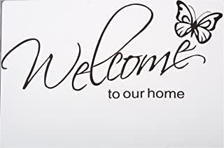 LovingIn XQ1 Butterfly Pattern Welcome to Our Home Quotes Saying Vinyl Wall Sticker, 71X21cm