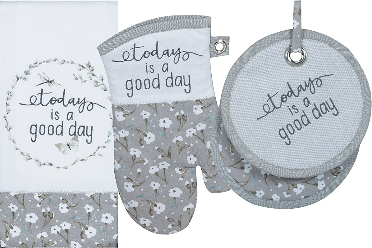Kay Dee Designs Kitchen Towel Set Today Is A Good Day 3 Pc Oven Mitt Tea Towel And Potholder Hand Towel Dish Cloth