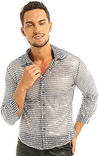 Men's Shiny Sequined Mesh Top Disco Dance Shirt Dude Costume