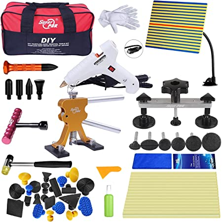 Amazon Com Super Pdr 45 Pcs Pdr Tool Set Automobile Car Body Paintless Dent Repair Remover Tools Kit Hail Damage Repair Tools Dent Lifter Bridge Puller Glue Gun With Slide Hammer Automotive