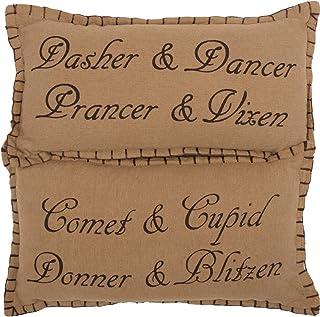 "Christmas Holiday Pillows & Throws - Prancer Tan 7"" x 13"" Pillow Set"