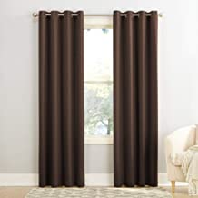 (chocolate, 54x63) - Sun Zero Groton Thermal Semi-opaque Grommet Single Curtain Panel