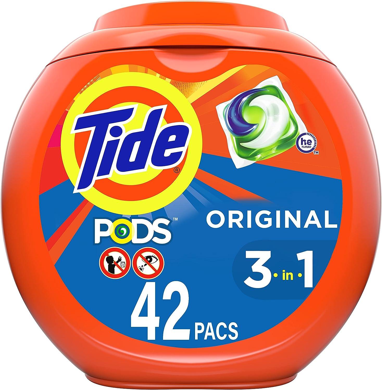 Tide Pods Liquid Laundry Detergent Pacs, Original Scent, 42 Count : Health & Household
