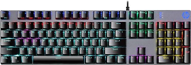 Teclado Mecânico HP Gamer USB GK400F Chumbo - Layout ABNT2 Switch Blue Teclas Multimídia Iluminação de Led Azul - 7ZZ93A