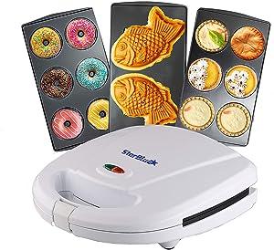 Mini-Donuts Maker, Mini-Pie and Quiche Maker, Taiyaki Maker – 3 in 1 Three Slices Detachable Dessert Maker by StarBlue – White AC 110-120V 50/60Hz 700-800W…