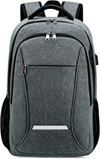 17.3 Inch Laptop Backpack,Large Business Traveling Backpacks for Men with USB Charging Port,Water Resistant Durable Lightweight School Backpack Bag Women College Computer Backpack-Grey